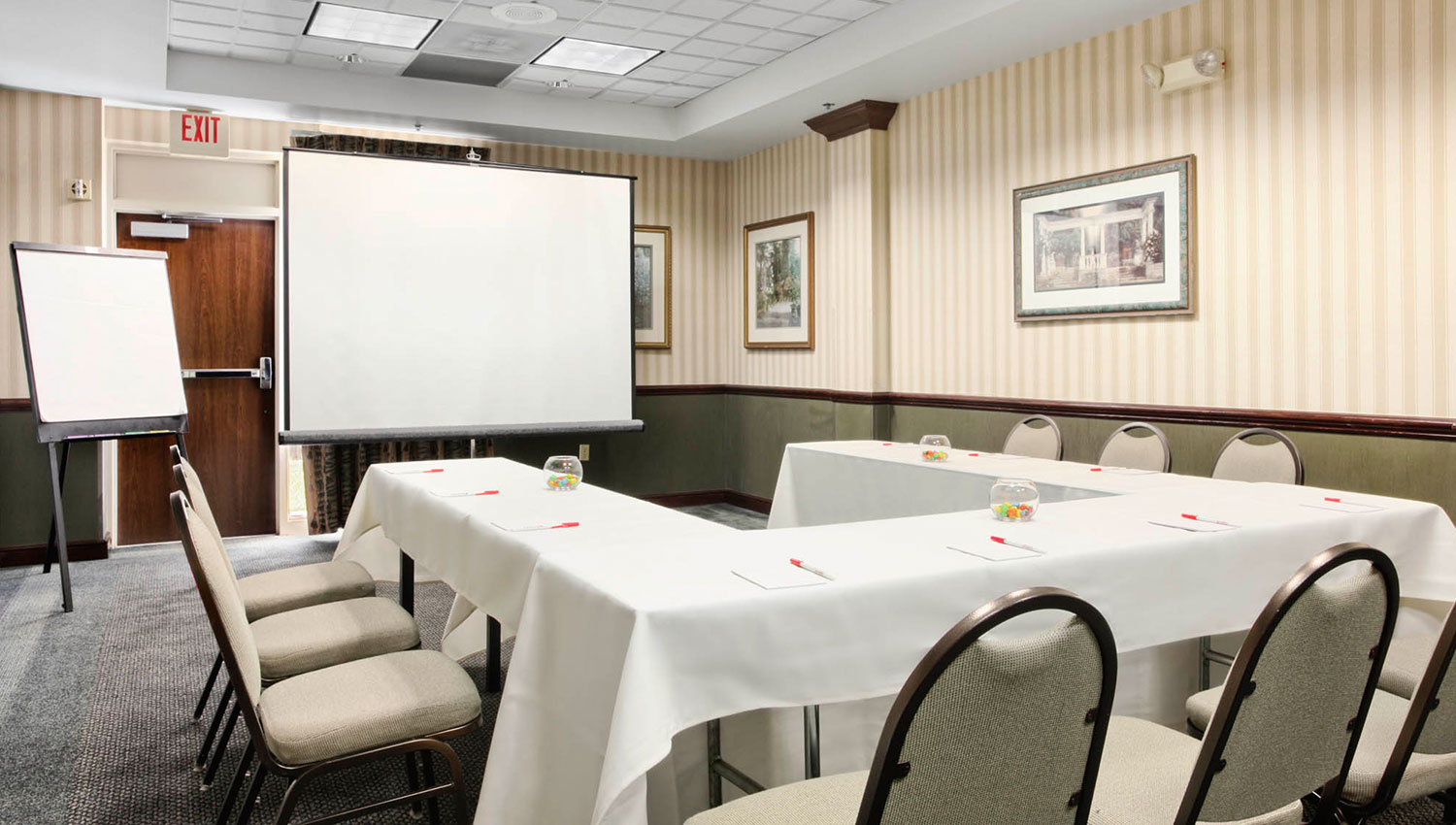 meeting rooms with white LCD projector and screen with a flip chart