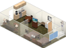 view 3D layout of rooms in a 2 double bedroom suite