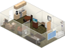 see a 2 double bedroom suite in 3D with free high-speed internet